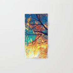 AutuMN Golden Leaves Teal Sky Hand & Bath Towel