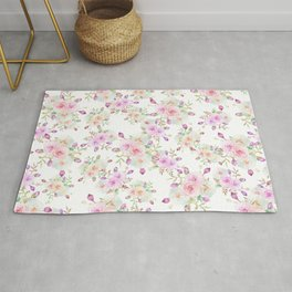Girly pink lavender teal watercolor rose floral pattern Rug