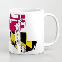 Map of Maryland with Maryland State Flag Coffee Mug