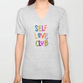 Self Love Club – Rainbow on Charcoal Unisex V-Neck