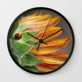 Ladybug on Sunflower Wall Clock