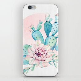 Desert Cactus Flower with Rose Gold Sun iPhone Skin