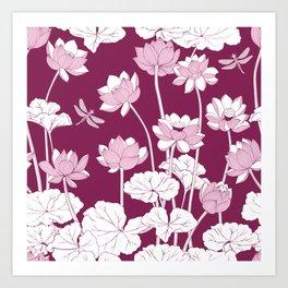 Lotuses and dragonflies. Art Print