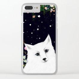 white fox Clear iPhone Case