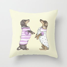 Dancing Salchichas Throw Pillow