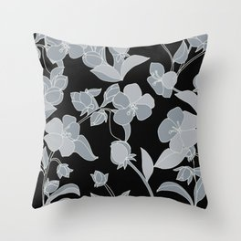 Blossoms, Line Drawing in Gray on Rich Black Throw Pillow