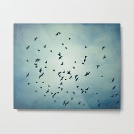 Birds Flying in Sky, Blue Nature Photography, Bird Flock Fly Dark Blue Metal Print
