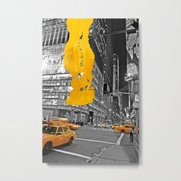 NYC Yellow Cabs - At Night - Brush Stroke Metal Print