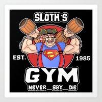 Sloth Gym Funny Goonies Fitness Art Print
