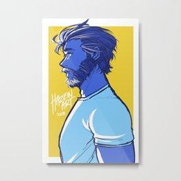 Beard and Sun Metal Print