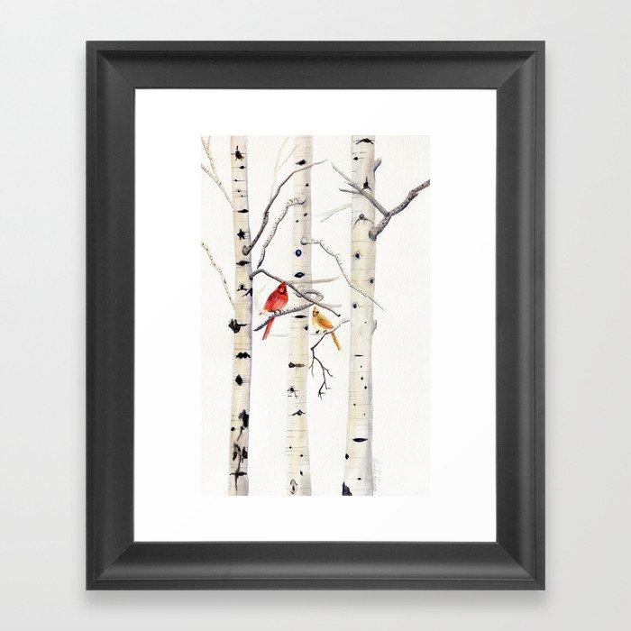 Birch Trees and Cardinal Gerahmter Kunstdruck