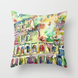 COLOSSEUM - watercolor painting Throw Pillow
