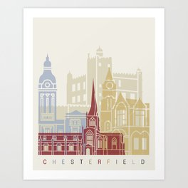 Chesterfield UK skyline poster Art Print