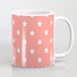 White stars pattern on coral background Coffee Mug