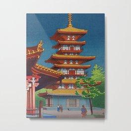 Japanese Woodblock Print Vintage Asian Art Colorful woodblock prints Pagoda Shinto Shrine Metal Print