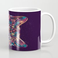 space cat Mugs featuring Space Cat by dan elijah g. fajardo