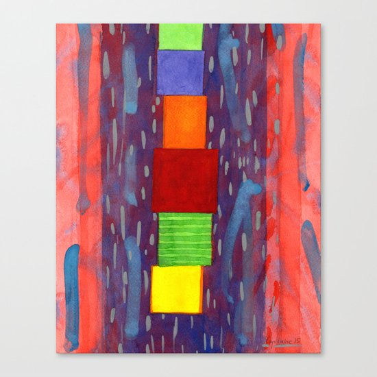 Colorful piled Cubes within free Painting Canvas Print