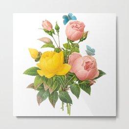Vintage Pink and Yellow Roses [08] Metal Print
