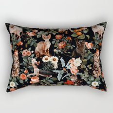 Cat and Floral Pattern II Rectangular Pillow
