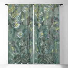 July Wildflowers, Meadow Flowers, Summer Floral, Grey Blackout Curtain