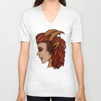 capricorn V-neck T-shirts featuring Capricorn by redrockit