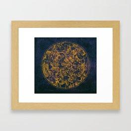Vintage Constellations & Astrological Signs   Purple Galaxy Framed Art Print