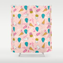 Alien outer space cute aliens french fries rad sodas pattern print pink Shower Curtain