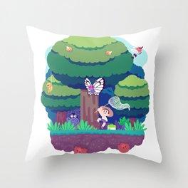 Tiny Worlds - Viridian Forest Throw Pillow