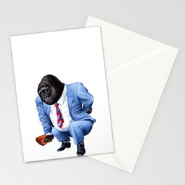 A gorilla tired from business Stationery Cards