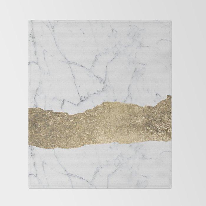 Elegant faux gold foil gray white modern marble Throw Blanket