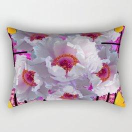 BUTTERFLIES MODERN WHITE TREE PEONY FLOWERS CORAL ART Rectangular Pillow