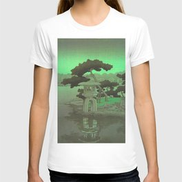 Kawase Hasui Vintage Japanese Woodblock Print Glowing Green Neon Sky Over A Zen Garden Shrine T-shirt