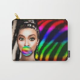 Retro Pinup Girl Rainbow Bubble Gum & Zebra Print Carry-All Pouch