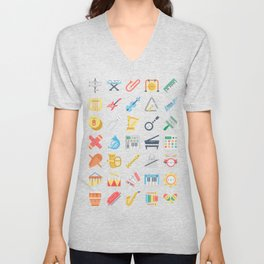 CUTE MUSICAL INSTRUMENTS PATTERN Unisex V-Neck