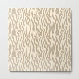 Cream & Beige Animal Stripes Metal Print