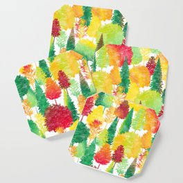 Autumn Forest Watercolor Pattern Coaster