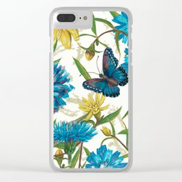 Seamless floral pattern with flowers and butterfly Clear iPhone Case