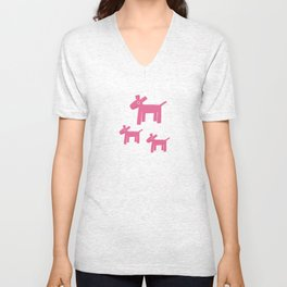 Dogs-Pink Unisex V-Neck