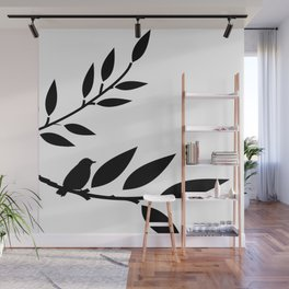 Bird and Branches Silhouette Wall Mural