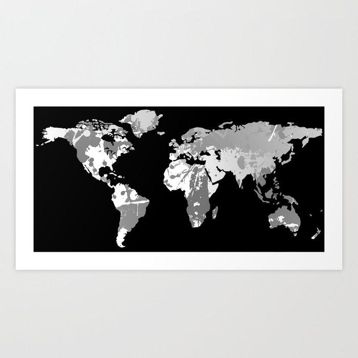 monochromatic world map art print