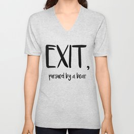 Exit, pursured by a bear - Shakespeare Unisex V-Neck