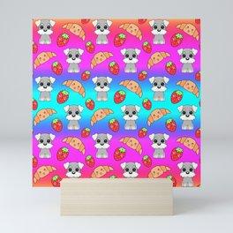 Cute happy funny baby puppy Schnauzers, sweet adorable yummy Kawaii croissants and red ripe summer strawberries cartoon rainbow blue pink design Mini Art Print
