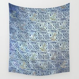 Vintage - Blue Ahoy Time for sailors Wall Tapestry