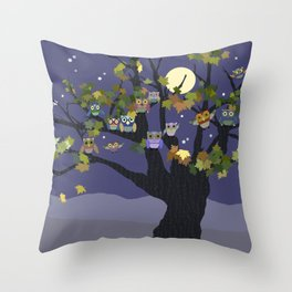 Night Owl Family Tree Purple Throw Pillow
