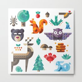 Geometric animals in forest Metal Print