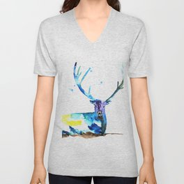 WATERCOLOR STAG PAINTING ORIGINAL Unisex V-Neck