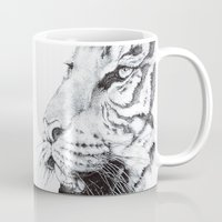 tiger Mugs featuring Tiger by Kirsten Neil