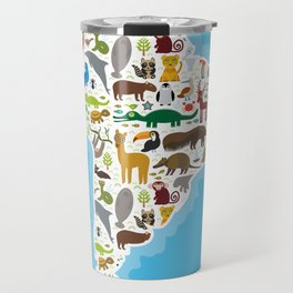 South America sloth anteater toucan lama bat seal armadillo boa manatee monkey dolphin Maned wolf Travel Mug