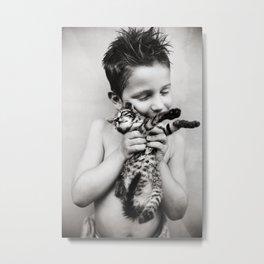 Boy and his cat Metal Print