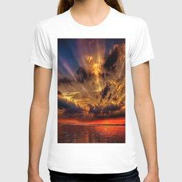 Sunset over the stone jetties of Jerusalem fishing village, Rhode Island T-shirt